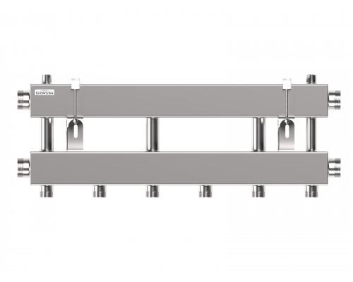 Модульный коллектор MKSS-150-3x25 (до 150 кВт, 2 магистр. подкл. G 1½″, 3 контура G 1″ вверх или вниз)